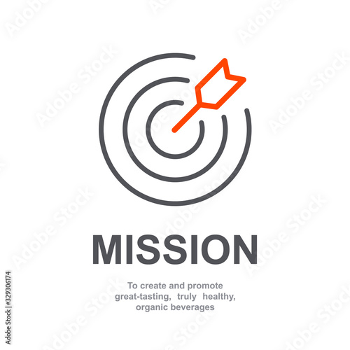 Mission sign icon of business company management with simple text isolated on white background Wallpaper Mural