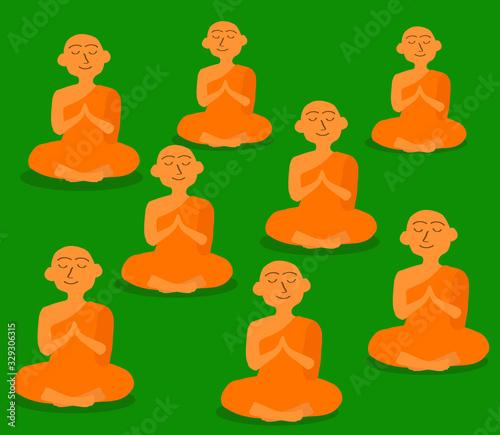 Fotografia Buddhist monks on a green background