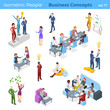 Isometric Business People Teamwork Winner Partnership Idea Profit Finance Report Analysis Statistics working concepts with Money gold coins Flat vector illustration.
