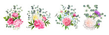 Set Of Vector Bouquets. Bloomi...