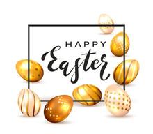 Golden Easter Eggs On White Ba...
