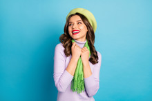 Closeup Photo Of Pretty Lady Red Lips Toothy Smiling Good Mood Flirty Look Empty Space Wear Green Beret Hat Purple Turtleneck Scarf Isolated Blue Color Background