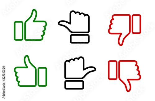 Obraz kciuk w górę i w dół ikona - fototapety do salonu