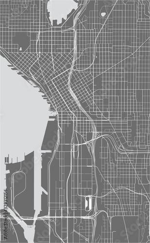 фотография map of the city of Seattle, Washington, USA
