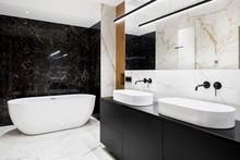 Luxury Bathroom With Marble Walls And Floor