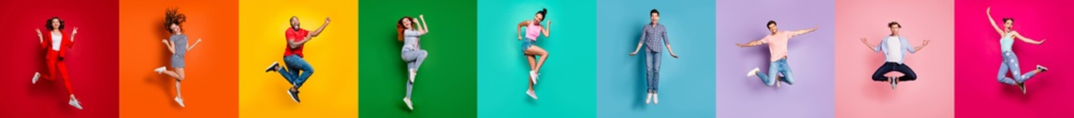 Collage of nine glad carefree attractive shiny modern multiethnic delight millennials person youngsters have diferent age good mood flying air isolated over rainbow background sale summer concept