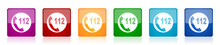 Emergency Call Icon Set, Color...