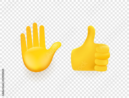 Fototapeta Yellow 3d vector hands isolated on transparent background obraz