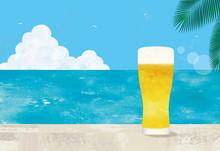 海とグラスビール水彩