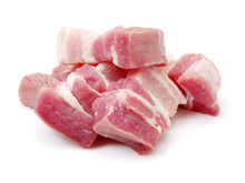 Raw Pork Belly Pieces On A White Background