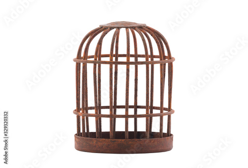 Valokuva Retro rusty cage isolated on white background with clipping path