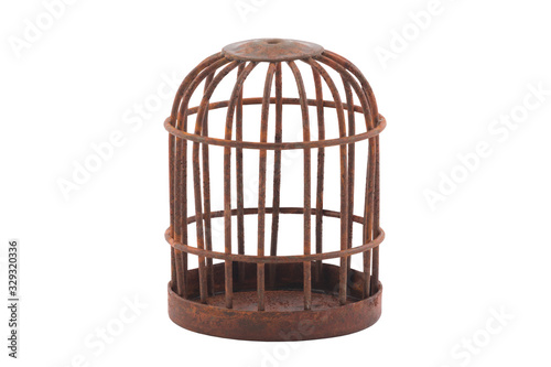 Obraz na plátně Retro rusty cage isolated on white background with clipping path