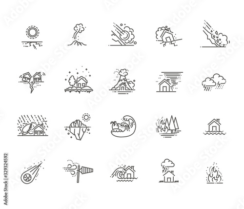 Fotografia natural disaster icons thin line