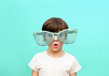 Cheerful Little Boy In Big Gla...