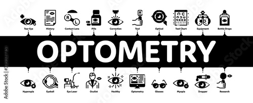Fotomural Optometry Medical Aid Minimal Infographic Web Banner Vector