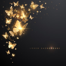 Gold Butterflies With Light Ef...