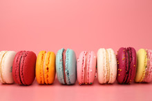 Colorful French Macaroons On P...