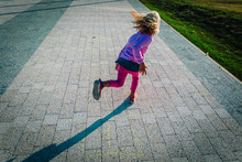 Little Girl Playing Hopscotch On Playground, Kids After School Games