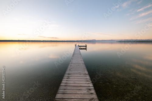Fototapeta Endless Dreamy Landing Stage Ending Into Lake Starnberg obraz na płótnie