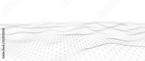 Abstract digital background. Network connection structure. Big data. Futuristic abstract wave. 3D rendering.