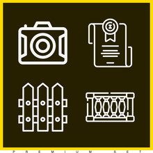 Set Of 4 Border Outline Icons