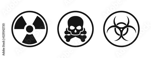Fotografija Set with nuclear chemical biological icon. Vector isolated