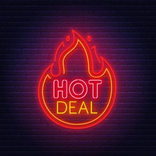 Hot Deal Neon Sign On Brick Wa...