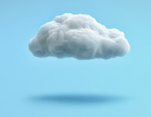 White Cloud Isolated On Blue Background. Clipping Path Included