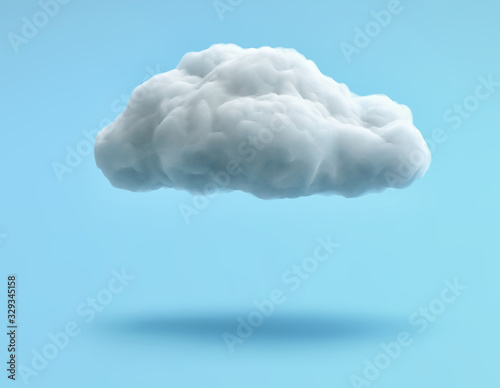 Fotografija White cloud isolated on blue background. Clipping path included