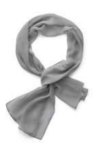 Subject Shot Of A Light Gray Scarf Made Of Semi-transparent Viscose Fabric. The Tied Scarf Is Isolated On The White Background.