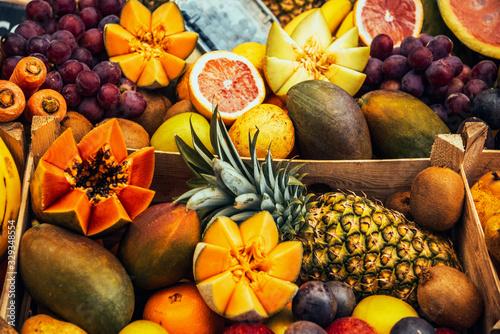 Vászonkép Fruits: pineapple, watermelon, bananas, strawberries, kiwi, apples and pears