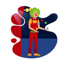 Cheerful Juggling Clown Flat C...