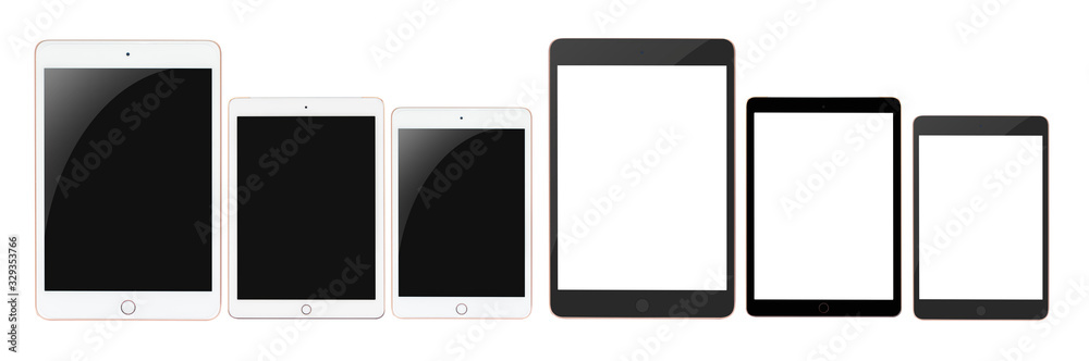 Fototapeta Set White tablet new model blank screen  with isolated on white background.Modern technology concept