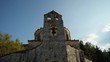 Low angle view of the bell tower of the greek orthodox church, Agios Nikolaos Fountoukli, Rhodes, Greece
