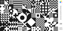 Abstract Bauhaus Geometric Pattern, Vector Circle, Triangle And Square Lines Background. Black And White Bauhaus Swiss Pattern Background