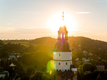 Beautiful Church Tower At Sunset