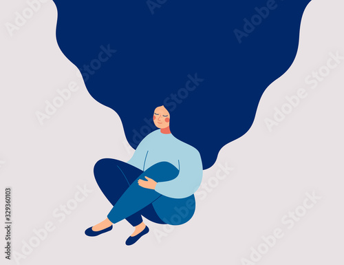 Obraz Young woman sits on floor, meditating and performing breath control exercise. Girl with flying hair practices self-mindfulness. Flat cartoon vector illustration. - fototapety do salonu