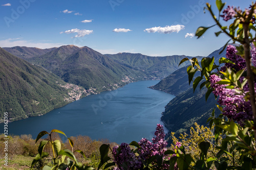 Spring panorama of Lake Como seen from the town of Pigra Canvas Print