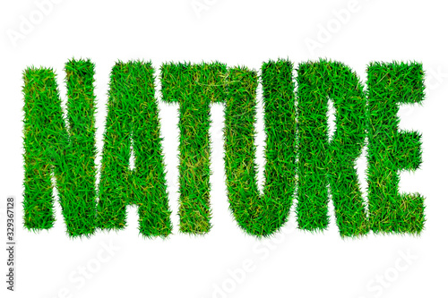 Palabra de natural escrita en césped verde.