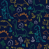 Fototapeta Dinusie - Cute dinosaur print on navy background. Seamless pattern Vector. Tyrannosaurus, brontosaurus, stegosaurus, triceratops, palm tree and cactus.