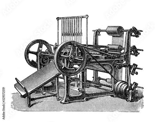 Obraz na plátně Paper machine old printing press / Antique illustration from Brockhaus Konversat