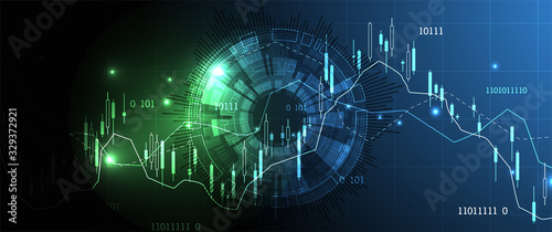 Obraz Financial trade concept. Stock market and exchange. Candle stick graph chart. - fototapety do salonu