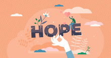 Hope Concept, Flat Tiny Person Vector Illustration