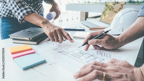 Fototapeta Architect Engineer Design Working on Blueprint Planning Concept. Construction Concept obraz