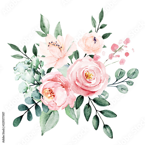 Fototapety, obrazy: Flowers watercolor, floral blossom clip art. Bouquet pink and burgundy roses perfectly for printing design on invitations, cards, wall art and other. Isolated on white background. Hand painting.