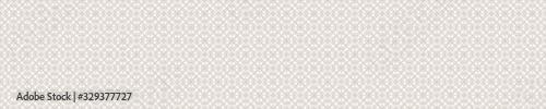 Obraz Seamless ornate medallion border pattern in french cream linen shabby chic style. Hand drawn floral damask bordure. Old white blue background.  Interior home decor edging. Ornate flourish ribbon trim - fototapety do salonu