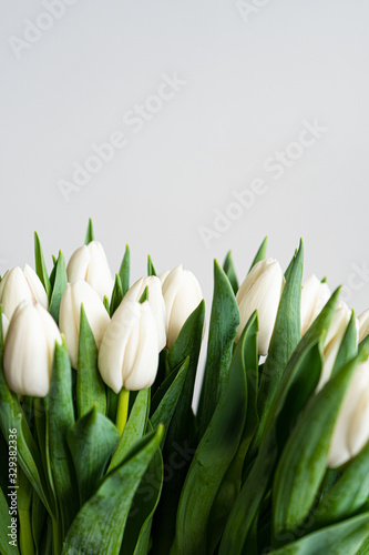 Fototapeta Spring flowers banner - bunch of white tulip flowers on white, grey background. Easter day mock up greeting card. Congratulation or Invitation card with free space for text.  obraz na płótnie