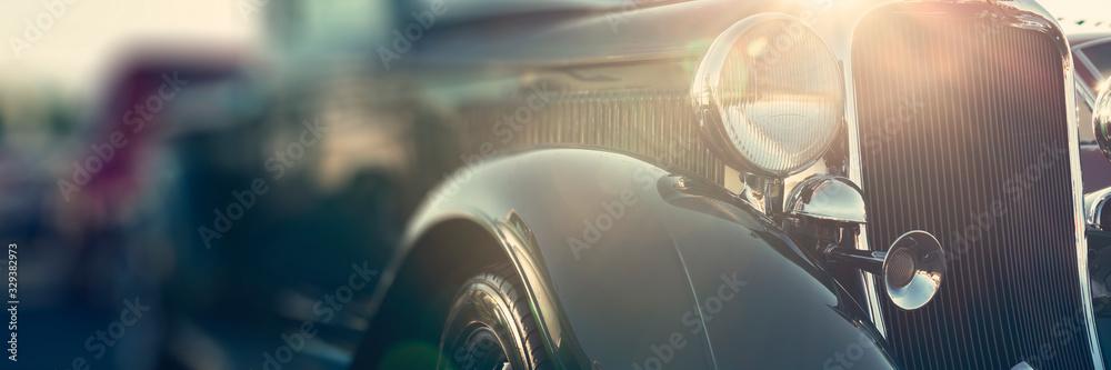 Fototapeta old classic car front close-up, cars street show