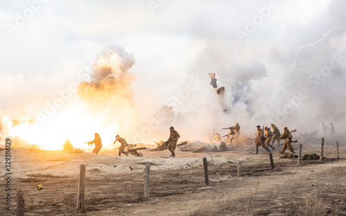 Fotografía Reconstruction of the battle of the second world war
