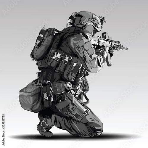 Fotografía Vector Policeman Tactical Shoot Illustration